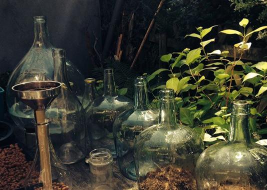 de flessentuinen wachten op hun plantjes